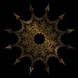 Talerz z elegancja okręgu geometrycznym plemiennym ornamentem, Islamski mandala Złota koloru wektoru ilustracja royalty ilustracja