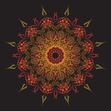 Talerz z elegancja okręgu geometrycznym plemiennym ornamentem, Islamski mandala Złota koloru wektoru ilustracja ilustracja wektor