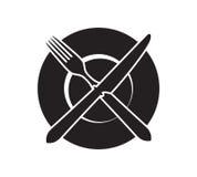 Talerz z krzyżującą rozwidlenia i noża ikoną Zdjęcie Stock