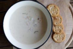 Talerz z milczek gęstej zupy rybnej polewką Obraz Stock