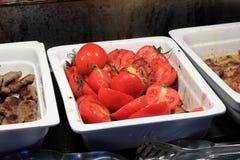 Talerz z piec na grillu pomidorami Fotografia Stock