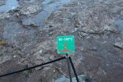 Talerz z temperaturą w Haukadalur, dolina gejzery, Iceland Zdjęcie Royalty Free