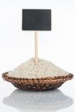 Talerz z wiązką ryż adra, swój metka i odbicie i, pointer zdjęcie stock