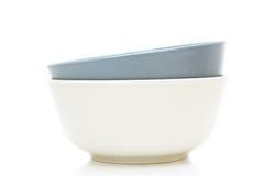 talerza ceramiczny odosobniony biel dwa Zdjęcie Stock