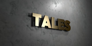 Tales - Gold sign mounted on glossy marble wall  - 3D rendered royalty free stock illustration Stock Images