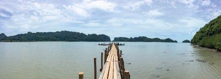 Talet bay wooden bridge in Khanom stock image