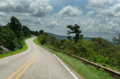 Talimena Drive, Ouachita mountains, curving roads. Talimena National Scenic Byway, from Talihina Oklahoma to Mena, Arkansas.Curving roads attract motorists for royalty free stock images
