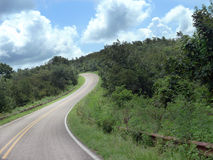 Talimena Drive, Ouachita mountains, curving roads. Talimena National Scenic Byway, from Talihina Oklahoma to Mena, Arkansas. Hilly and curving roads attract royalty free stock photo