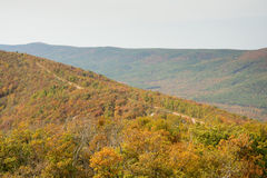 Talimena scenic byway with road running on the crest of the mountain. With fall colors royalty free stock photo