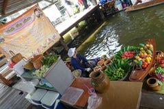 Talingchan floating market in Bangkok stock image