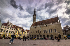 Talinn,爱沙尼亚老镇的大广场  库存照片