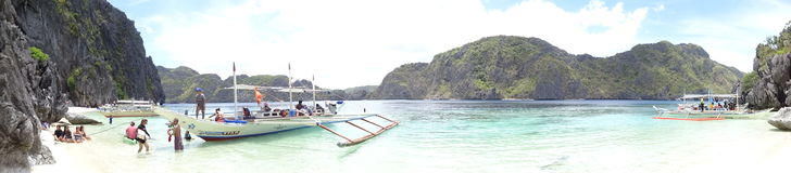 Talisay Beach. This is one of the white beaches in El Nido, Palawan, Philippines Royalty Free Stock Images