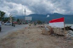 Talise na Tsunami Palu, Indonesië op 28 September 2018 stock afbeelding