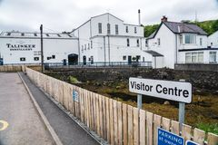 Talisker Distillery headquarters, Scotland, UK. Talisker distillery is an Island single malt Scotch whisky distillery based in Carbost, Scotland on the Isle of stock image