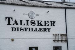 Talisker Distillery headquarters, Scotland, UK. Talisker distillery is an Island single malt Scotch whisky distillery based in Carbost, Scotland on the Isle of stock photos