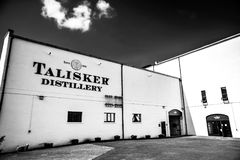 Talisker Distillery - Closeup in Black and White. The famous Talisker Distillery. It is the old distillery on the Isle of Skye, Carbost, Scotland Stock Image