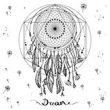 Talisman dreamcatcher with feathers. Vector hipster illustration isolated on white. Ethnic design, boho chic, tribal. Symbol. Coloring book. inscription dream Royalty Free Illustration
