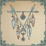 Talisman metal dreamcatcher with feathers. Stock Photos