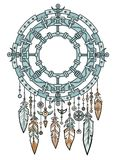 Talisman metal dreamcatcher with feathers. Stock Photo