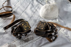Talit, Kippah and Tefillin, jewish ritual objects. Talit, Kippah and Tefillin - Jewish ritual objects, elements of prayer vestments Royalty Free Stock Photography