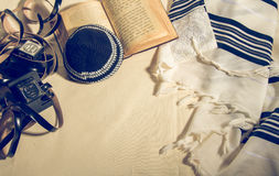 Talit, Kippah, Tefillin and Siddur, jewish ritual objects Stock Images