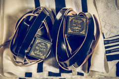 Talit and Tefillin, jewish ritual objects Stock Photos