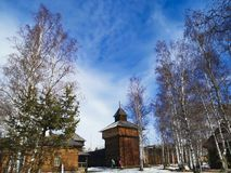 The facade of the old wooden house is in the Museum of Wood Architecture. The Talitz Museum of Architecture is located near Lake Baikal in Irkutsk. It is a stock image