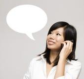 Talk. Girl having a talk dialogue Stock Photos