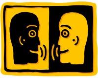 Talk. Profile of two people who speak vector illustration