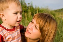 Talk. Mom and the son talk Royalty Free Stock Photos