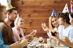 Talk by birthday table Stock Photos
