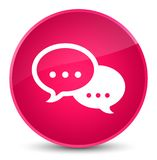 Talk bubble icon elegant pink round button Royalty Free Stock Photography