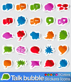 Talk bubble stickers icons. Vector - illustration : Talk bubble stickers icons in five colours Stock Photos