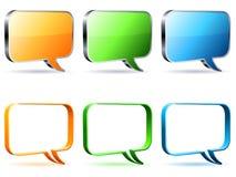 Talk bubbles. Set of 6 color empty talk bubbles Royalty Free Stock Image