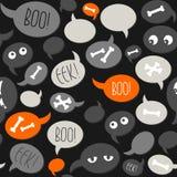Talk bubbles and bones on dark halloween pattern Stock Image
