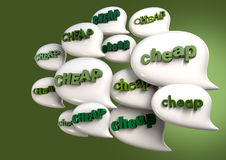 Talk Is Cheap. A collection of white speech bubbles with the extruded word cheap in greens on a green backgound stock illustration