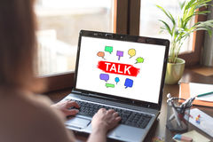 Talk concept on a laptop screen Royalty Free Stock Photo