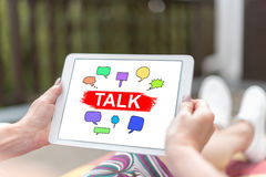 Talk concept on a tablet Stock Images