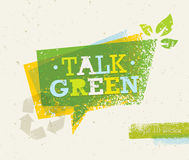 Talk Green Eco Speech Bubble on Organic Paper Background. Nature Friendly Vector Concept Royalty Free Stock Photography