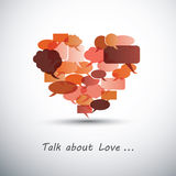Talk about Love - Heart Made of Speech Bubbles. Red Heart Made of Speech Bubbles - Abstract Background Design in Editable Vector Format vector illustration