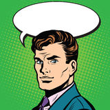 Talk man retro pop art Stock Image