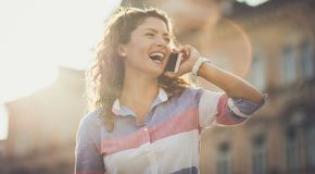 Talk and moment of happiness. stock photography