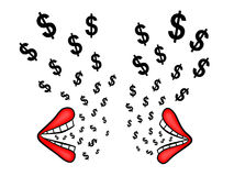 A talk about money. Two cartoon lips talking to each other while dollar signs coming out from them Royalty Free Stock Photography