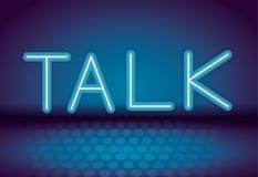 Talk neon advertising. Talk neon blue advertising over blue background vector illustration stock illustration