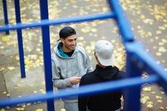 Talk in park Stock Photo