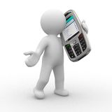 Talk please. 3d human talk with big mobile phone royalty free illustration