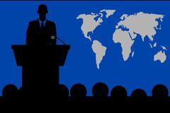 Talk from the Podium in Business. A talk from the podium in front of the audience. On the right hand side is a world map, on the left hand side is the person who royalty free illustration