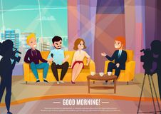 Talk show poster. Talk show flat poster with three participants sitting on a couch and male reporter vector illustration royalty free illustration