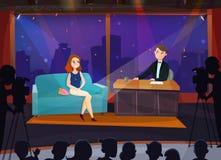 Talk Show Illustration. Smiling female participant in live talk show cartoon vector illustration vector illustration