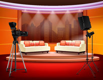 Talk Show Studio Interior. With comfortable sofas on pedestal filming equipment urban view in background vector illustration Stock Images